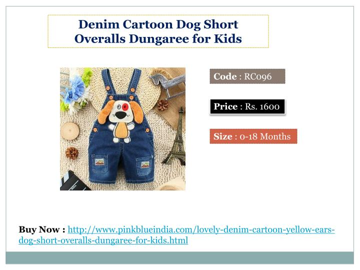 Denim Cartoon Dog Short Overalls Dungaree for Kids