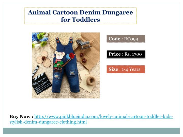 Animal Cartoon Denim Dungaree for Toddlers