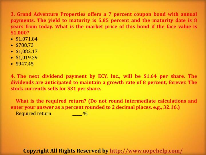 Grand Adventure Properties offers a 7 percent coupon bond with annual payments. The yield to maturity is 5.85 percent and the maturity date is 8 years from today. What is the market price of this bond if the face value is $1,000?