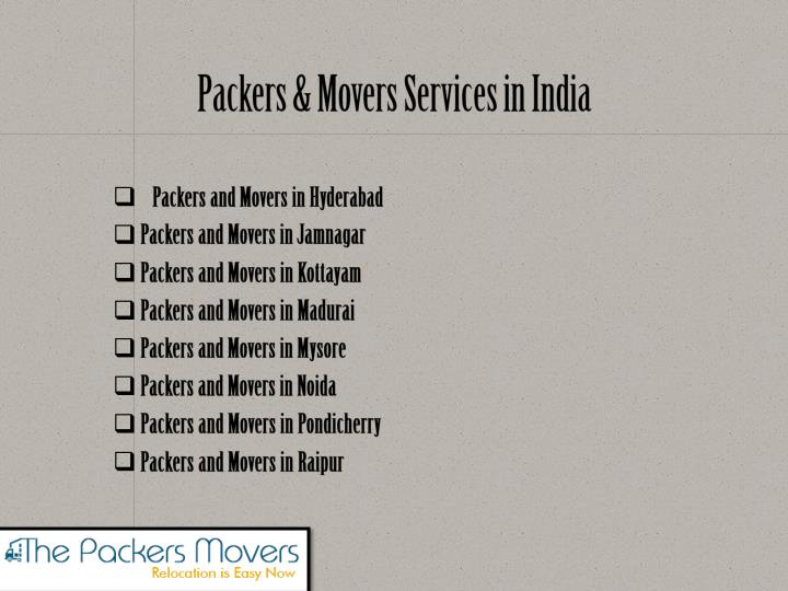 Packers movers services in india