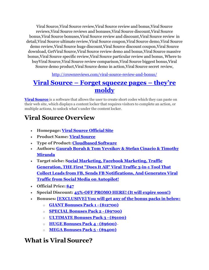 Viral Source,Viral Source review,Viral Source review and bonus,Viral Source  reviews,Viral Source