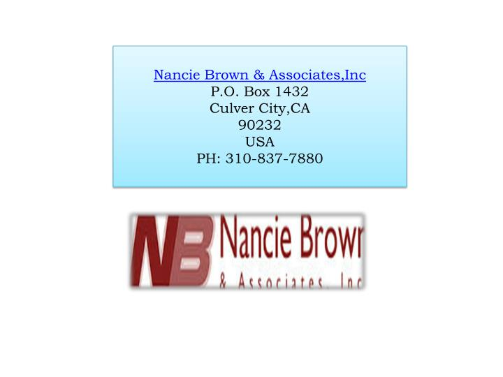 Nancie Brown & Associates,Inc