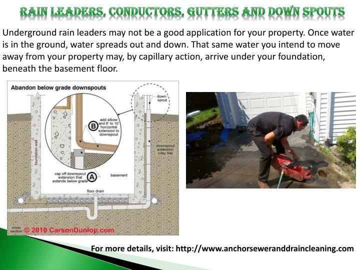 RAIN LEADERS, CONDUCTORS, GUTTERS AND DOWN SPOUTS