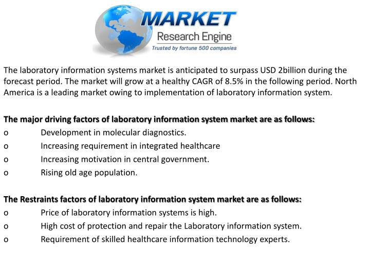 The laboratory information systems market is anticipated to surpass USD 2billion during the forecast period. The market will grow at a healthy CAGR of 8.5% in the following period. North America is a leading market owing to implementation of laboratory information system.