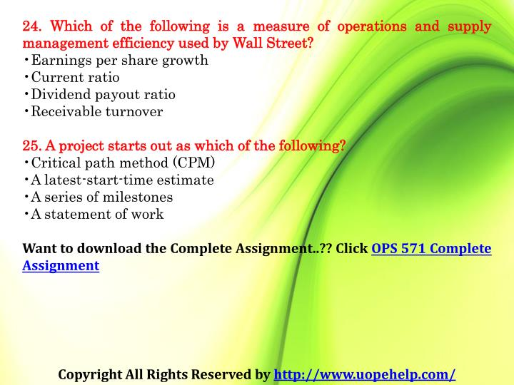 24. Which of the following is a measure of operations and supply management efficiency used by Wall Street?