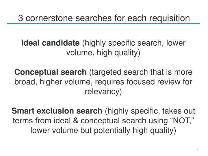 3 cornerstone searches for each requisition