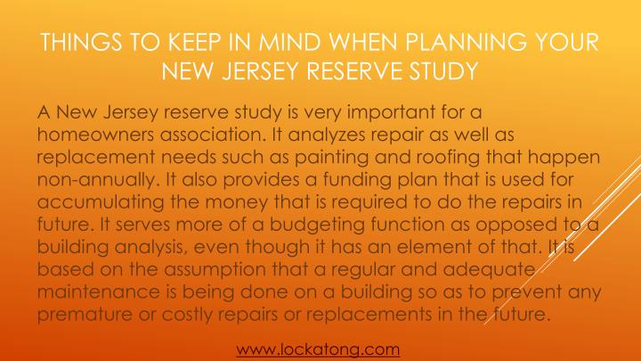Things to keep in mind when planning your new jersey reserve study1