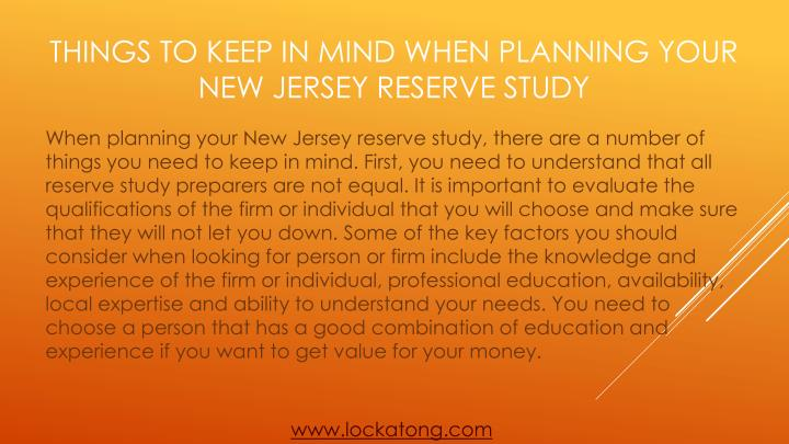 Things to keep in mind when planning your new jersey reserve study2