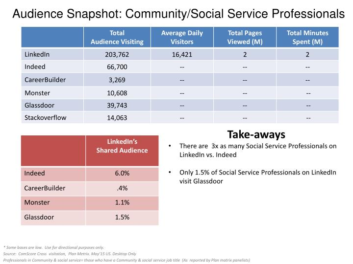 Audience Snapshot: Community/Social Service Professionals