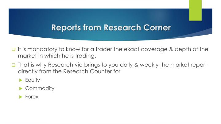 Reports from Research Corner