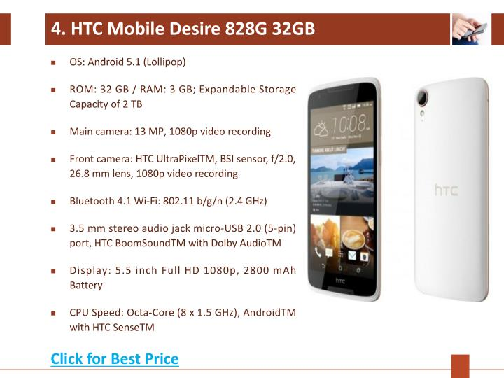 4. HTC Mobile Desire 828G 32GB