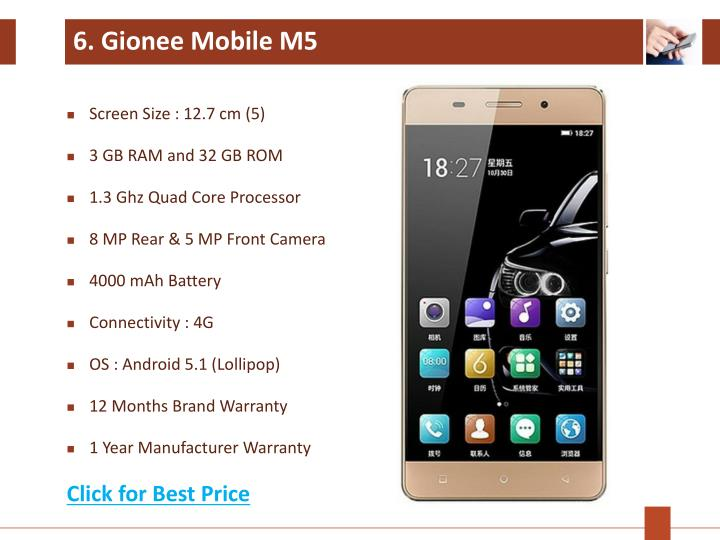 6. Gionee Mobile M5