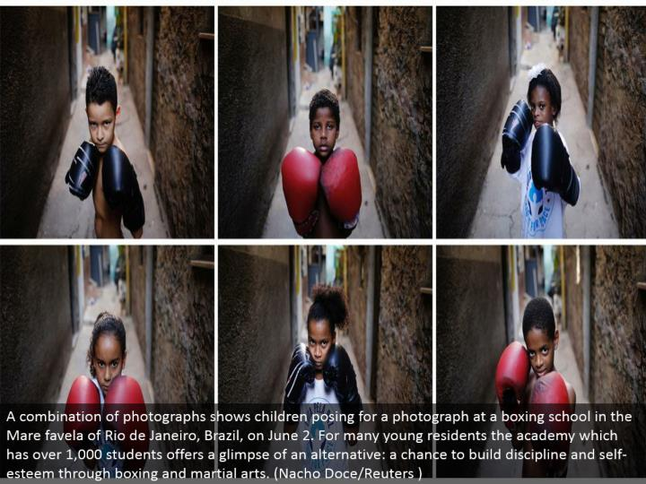 A blend of photos shows youngsters posturing for a photo at an enclosing school the Mare favela of R...