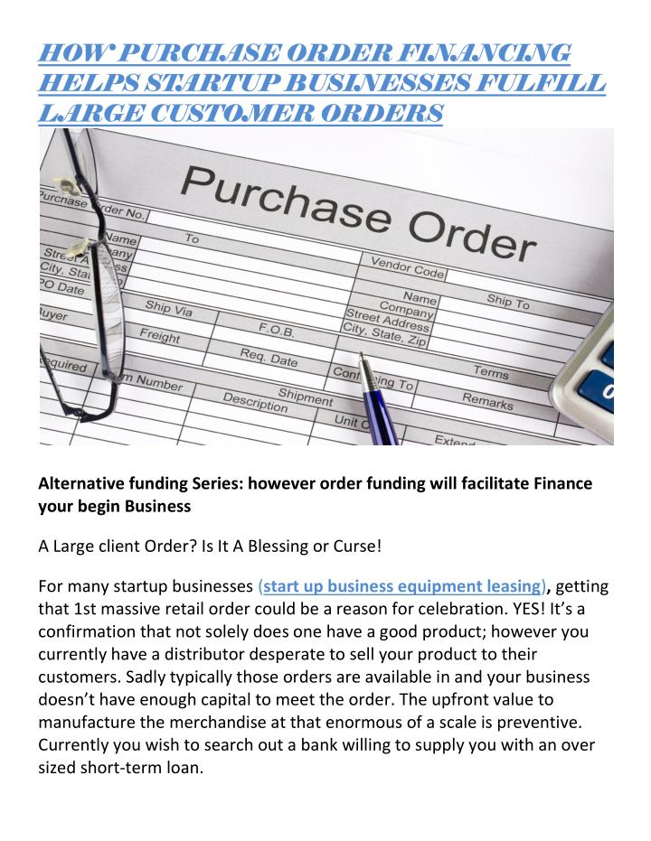 HOW PURCHASE ORDER FINANCING