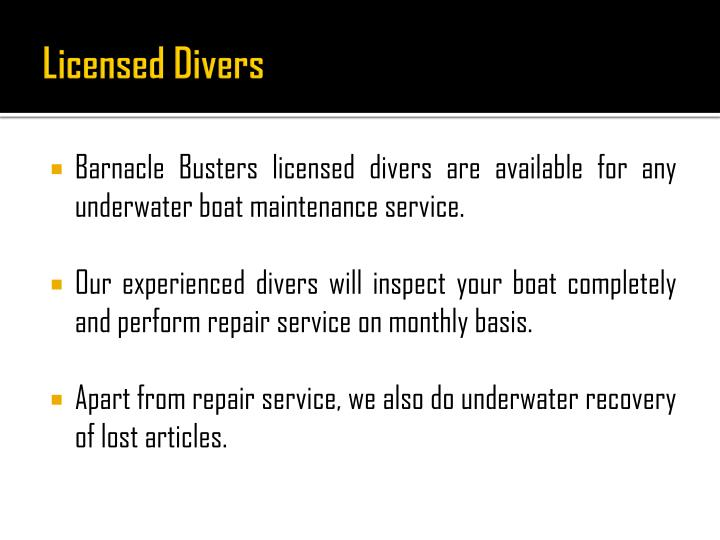 Licensed Divers