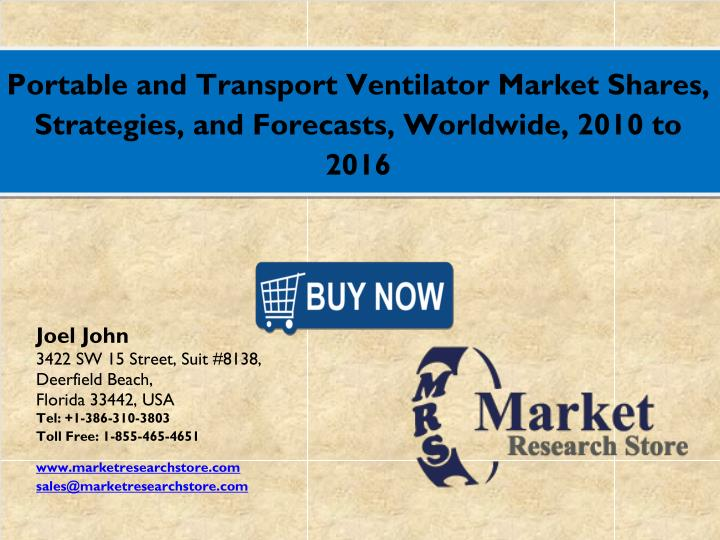 Portable and Transport Ventilator Market Shares,