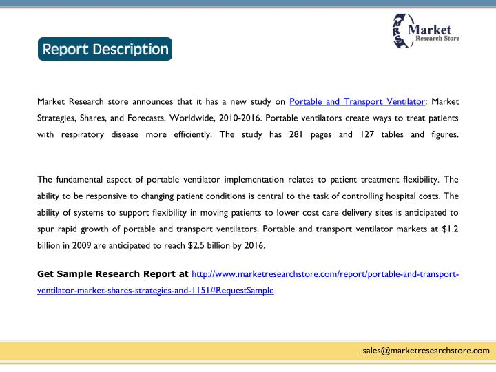 Market Research store announces that it has a new study on Portable and Transport Ventilator: Market...
