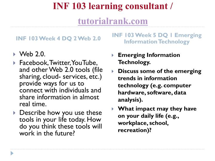 INF 103 learning consultant /