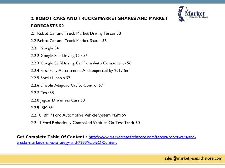 2. ROBOT CARS AND TRUCKS MARKET SHARES AND MARKET