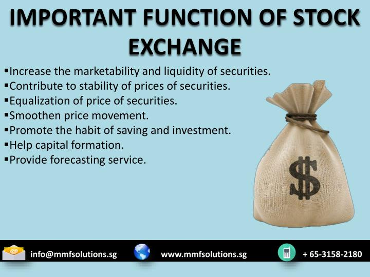 IMPORTANT FUNCTION OF STOCK EXCHANGE