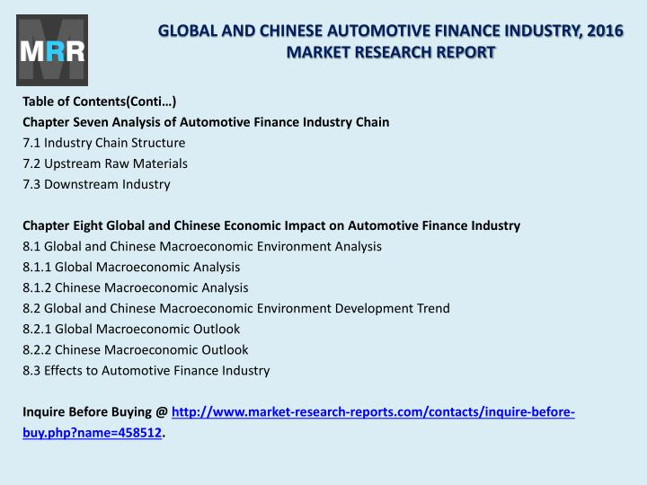 GLOBAL AND CHINESE AUTOMOTIVE FINANCE INDUSTRY, 2016 MARKET RESEARCH REPORT