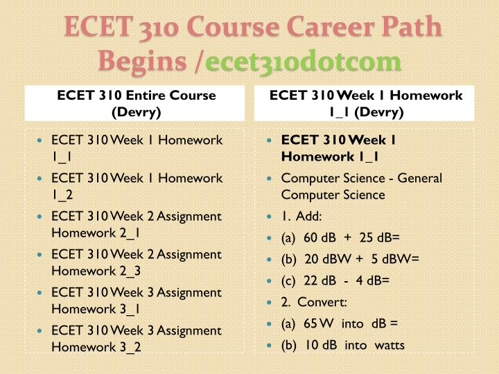 ECET 310 Entire Course (Devry)