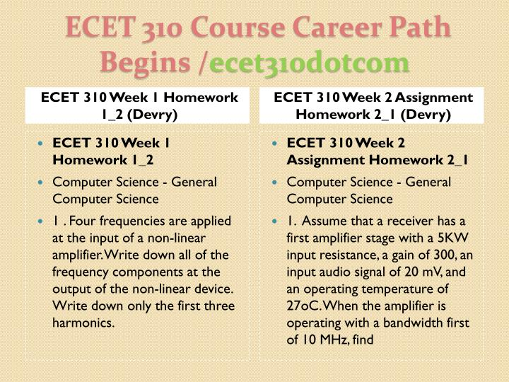Ecet 310 course career path begins ecet310dotcom2