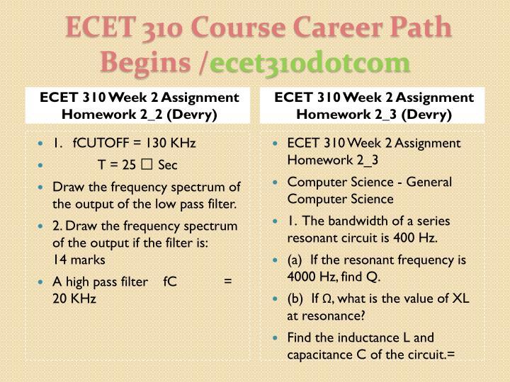 ECET 310 Week 2 Assignment Homework 2_2 (Devry)