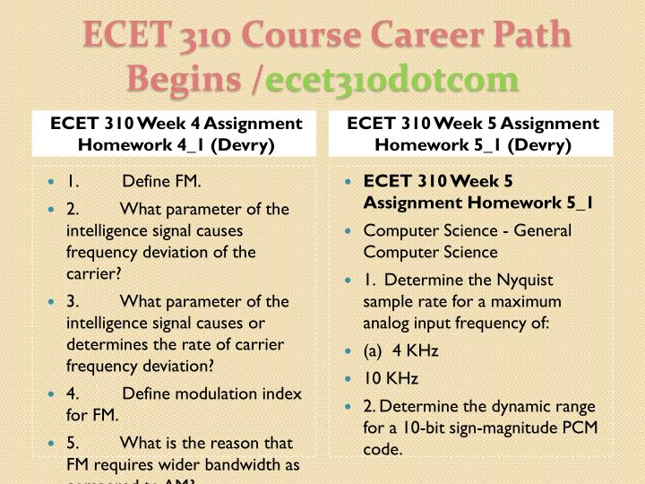 ECET 310 Week 4 Assignment Homework 4_1 (Devry)