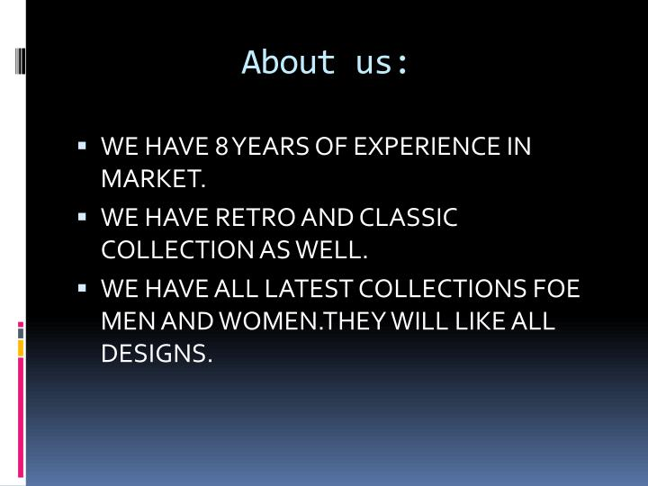 About us: