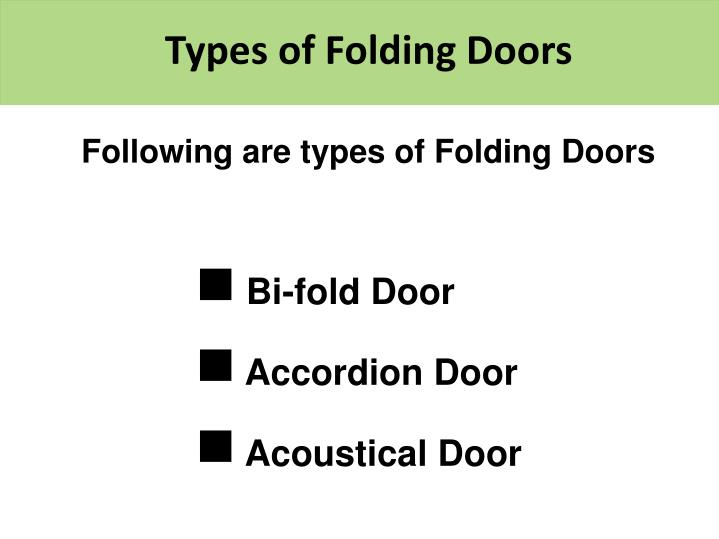 Types of Folding Doors