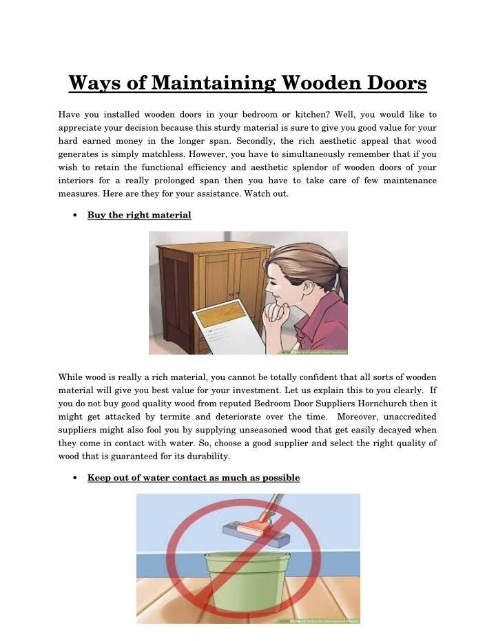 Ways of Maintaining Wooden Doors