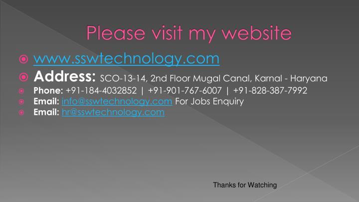 Please visit my website