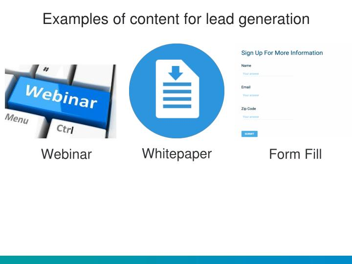 Examples of content for lead generation