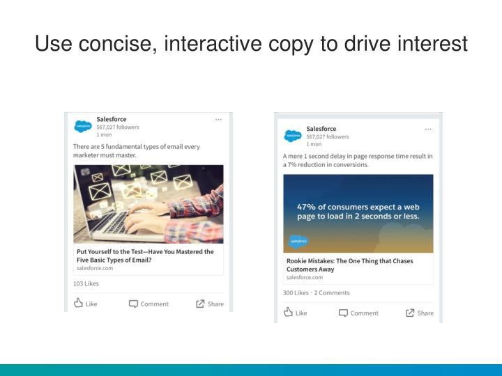 Use concise, interactive copy to drive interest