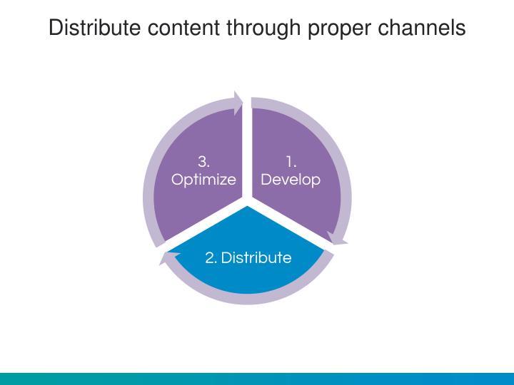 Distribute content through proper channels