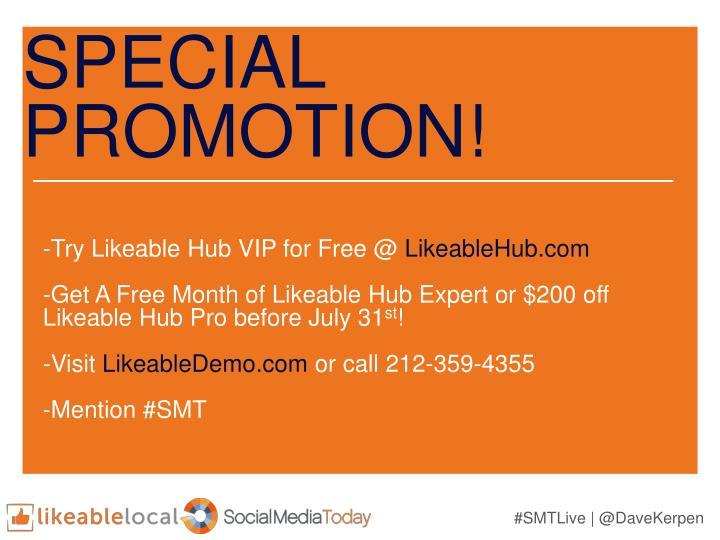 SPECIAL PROMOTION!