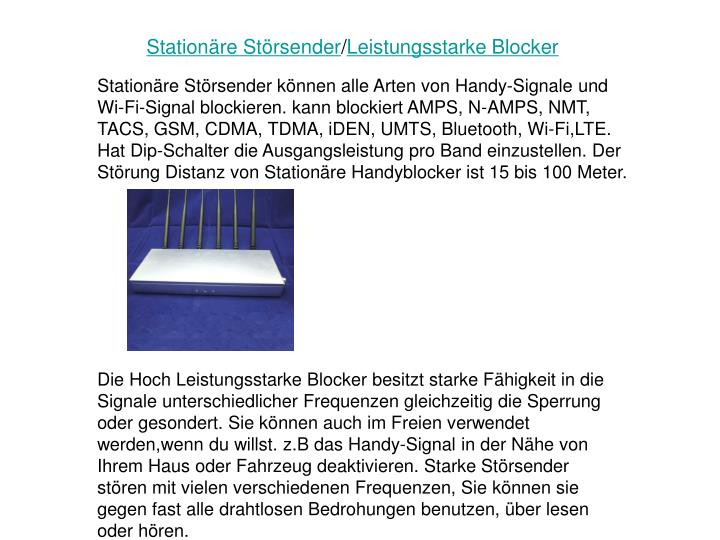 Station re st rsender leistungsstarke blocker