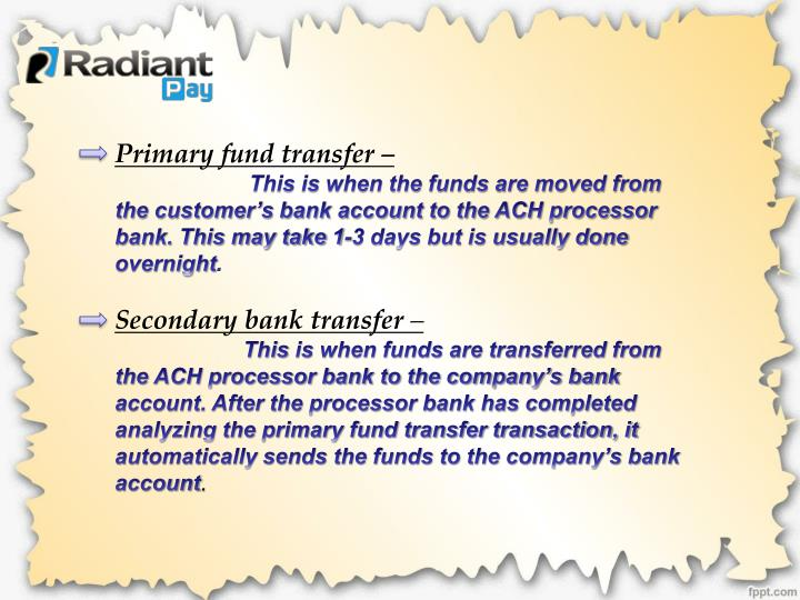 Primary fund transfer