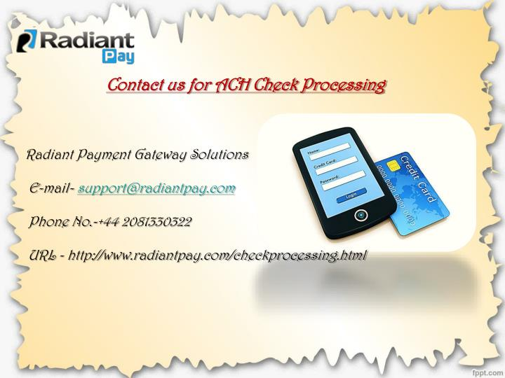 Contact us for ACH Check Processing