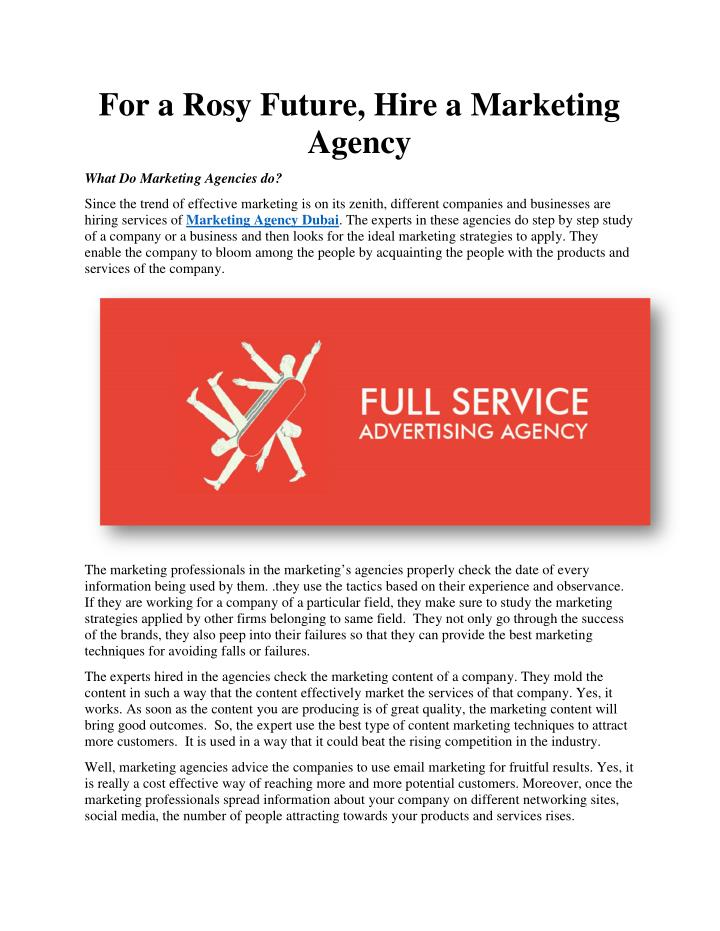 For a Rosy Future, Hire a Marketing