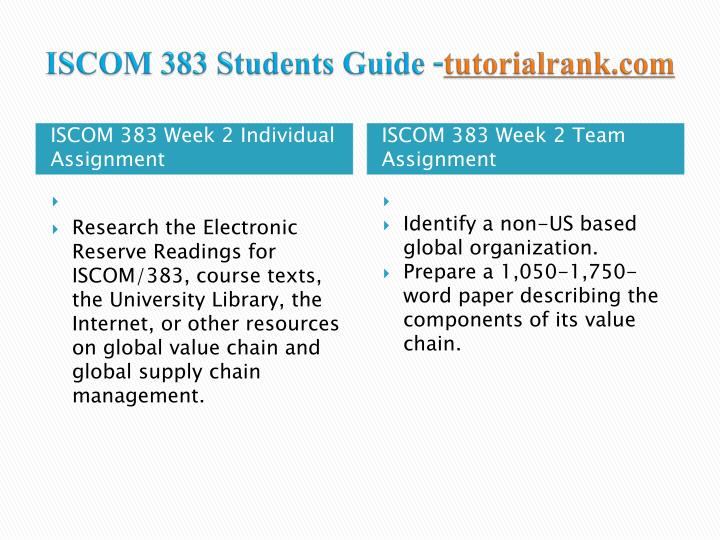 ISCOM 383 Students Guide -