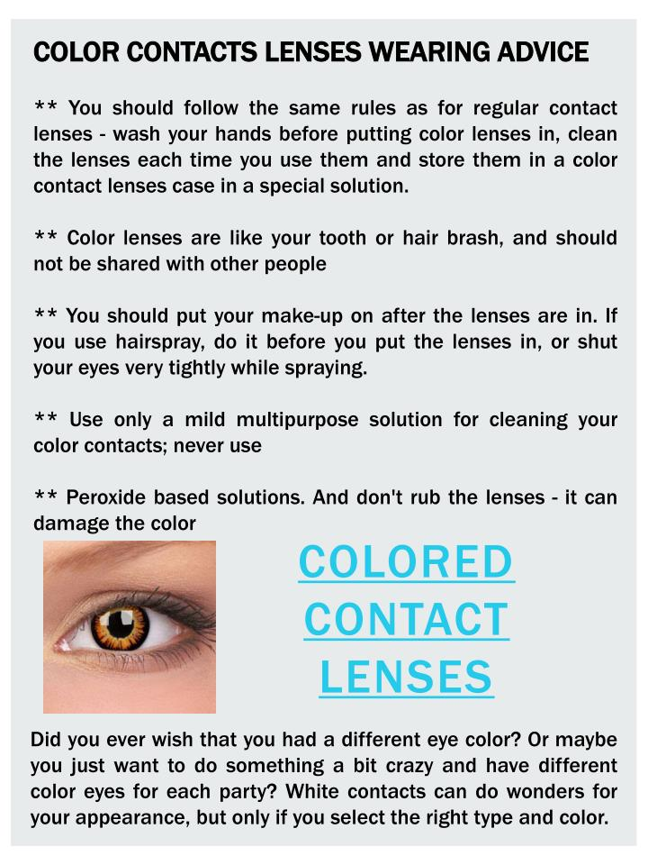 COLOR CONTACTS LENSES WEARING ADVICE