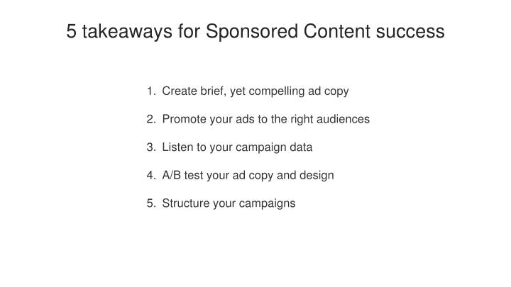5 takeaways for Sponsored Content success