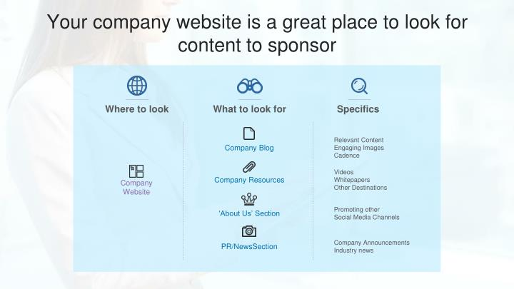 Your company website is a great place to look for content to sponsor