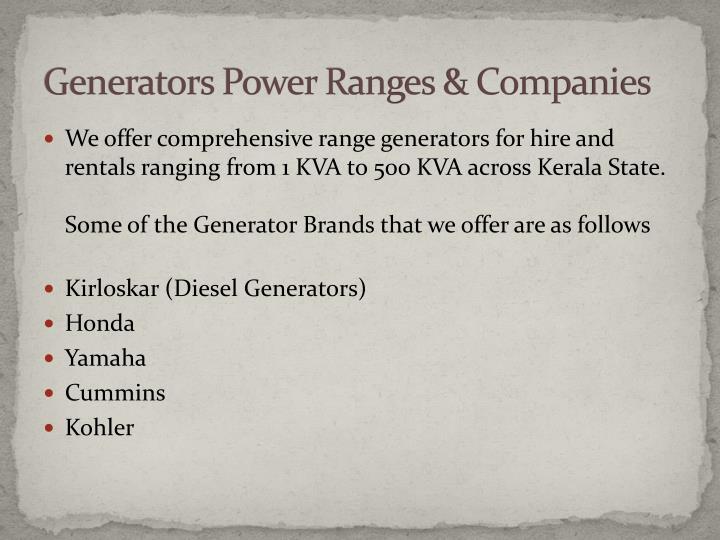 Generators Power Ranges & Companies