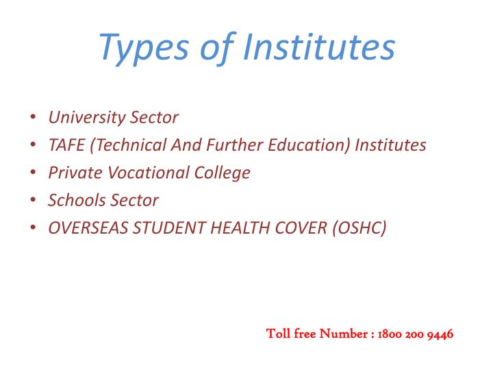 Types of Institutes