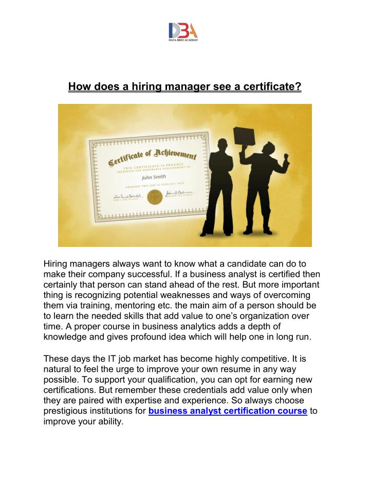 How does a hiring manager see a certificate?