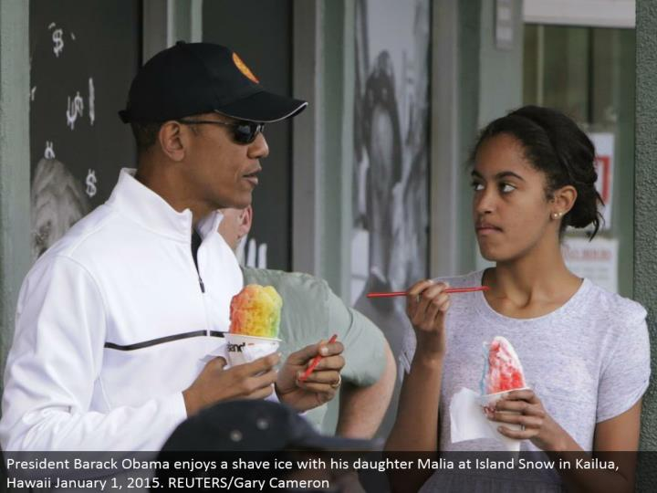 President Barack Obama appreciates a shave ice with his little girl Malia at Island Snow in Kailua, Hawaii January 1, 2015. REUTERS/Gary Cameron