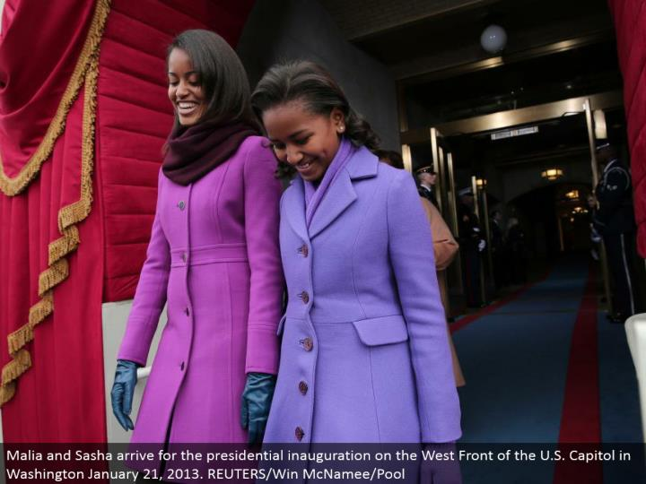 Malia and Sasha land for the presidential introduction on the West Front of the U.S. Legislative hall in Washington January 21, 2013. REUTERS/Win McNamee/Pool